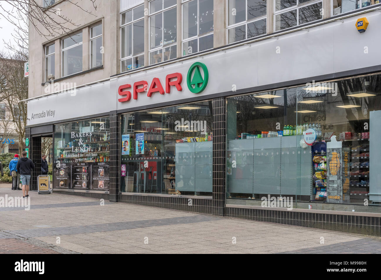 Death of the High Street metaphor / concept - Exterior of SPAR shop on Armada Way, Plymouth, Devon. Stock Photo