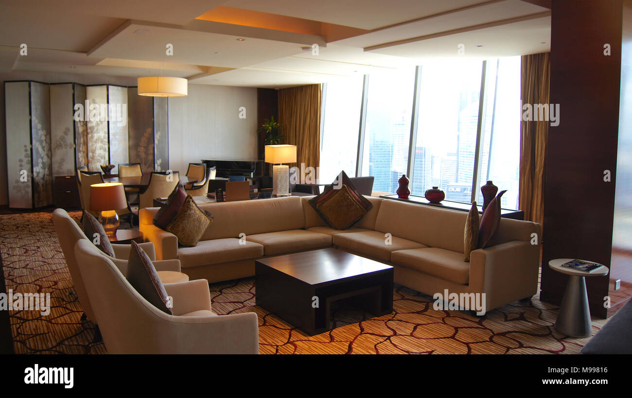 SINGAPORE   APR 2nd 2015: Beautiful Living Room Interior With View In A  Luxury Hotel Room Of The Marina Bay Sands Resort