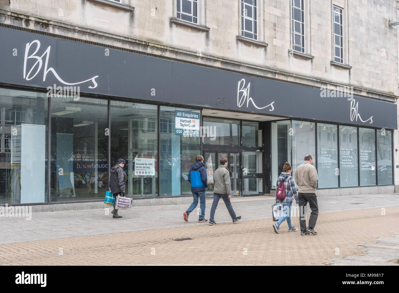Empty BHS store in Plymouth, Devon, after closing down & liquidation. For struggling high street retailers, death of high street, out of business. Stock Photo