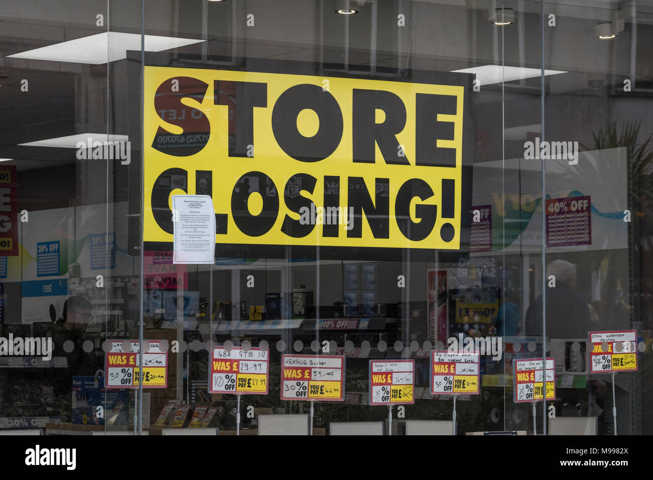 Poster in Maplin store Plymouth, Devon, after announcing closure of all stores. Metaphor for struggling high street retailers, death of high street. Stock Photo