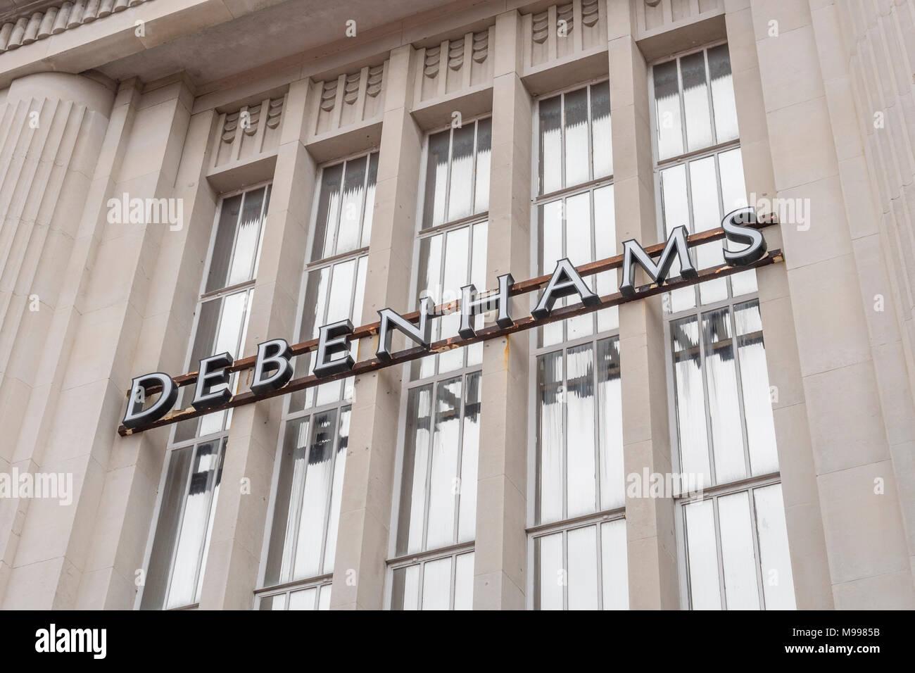 Exterior of Debenhams retail shop in Plymouth with copy space, Devon. Metaphor for 2018 Debenhams profits plunge. Death of the high street concept. Stock Photo