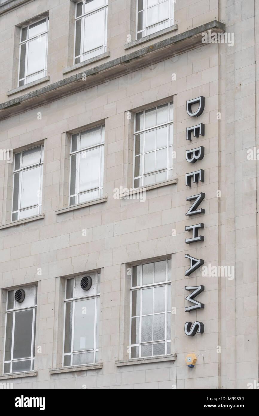 Exterior of Debenhams retail shop in Plymouth with copy space, Devon. Metaphor for 2018 Debenhams profits plunge. Death of the high street concept. Stock Photo