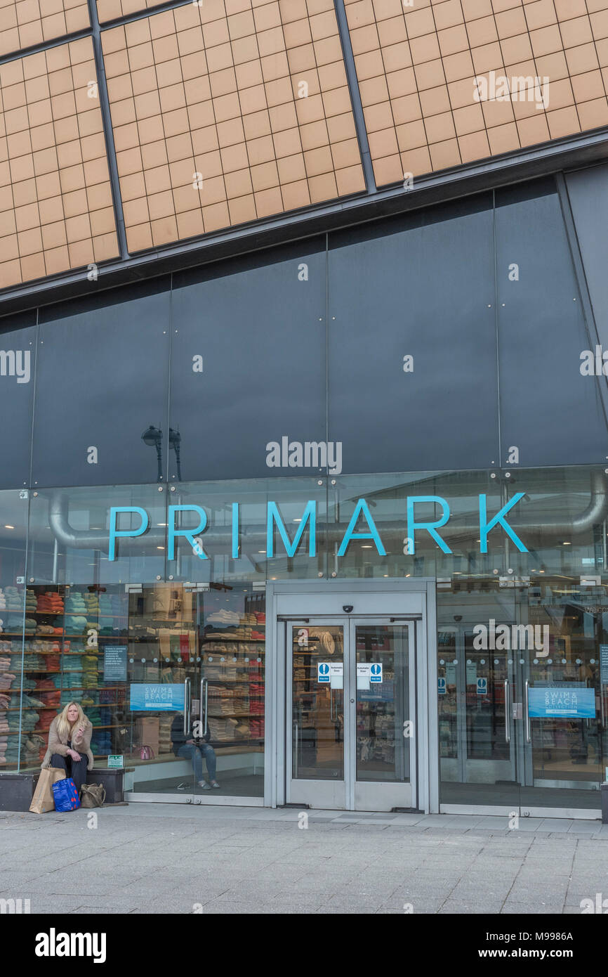 Death of the High Street metaphor / concept - Exterior of the Primark retail unit at the Drake Centre in Plymouth, Devon. - Stock Image