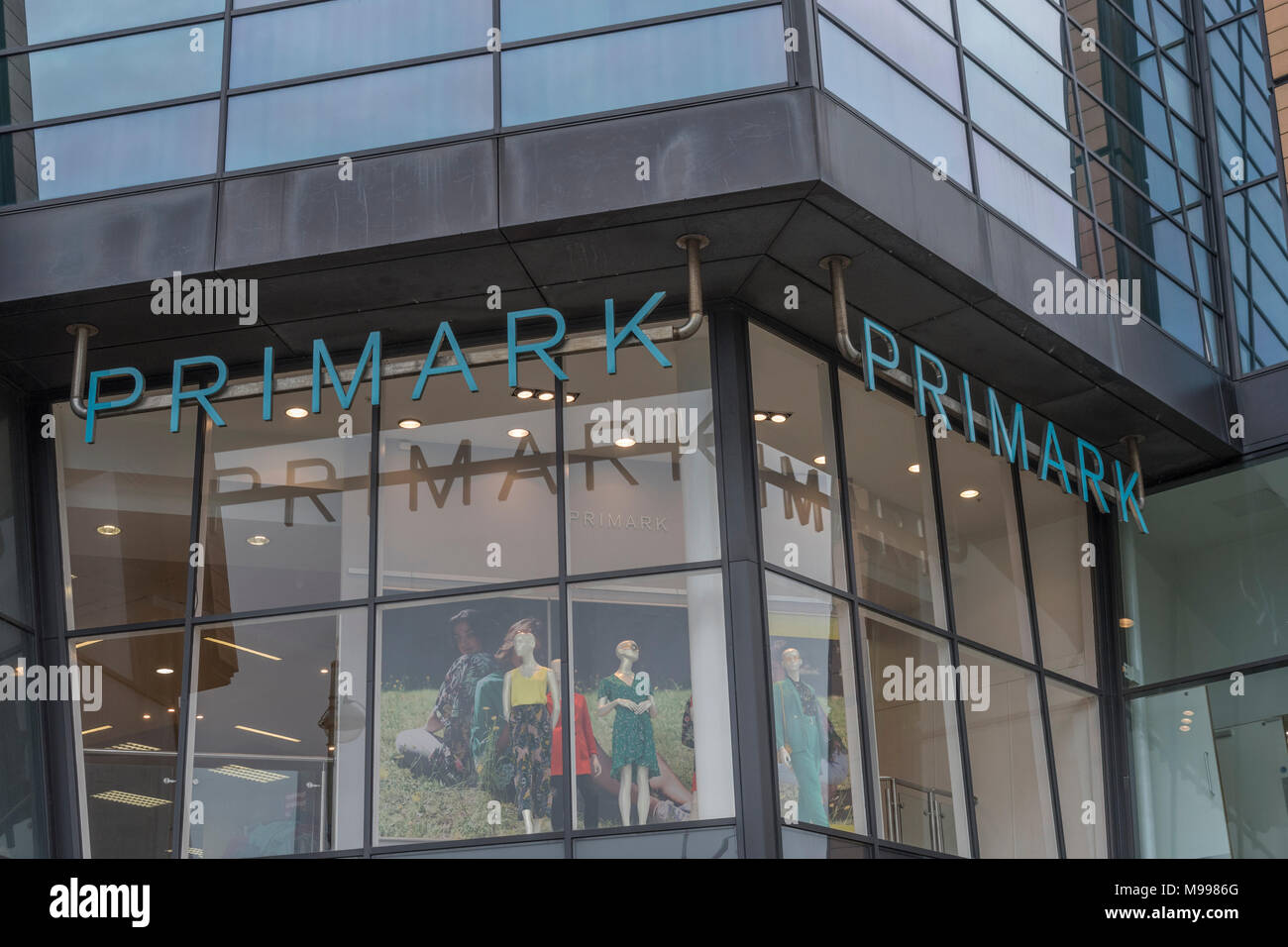 Death of the High Street metaphor / concept - Exterior of the Primark retail unit at the Drake Centre in Plymouth, Devon. Stock Photo