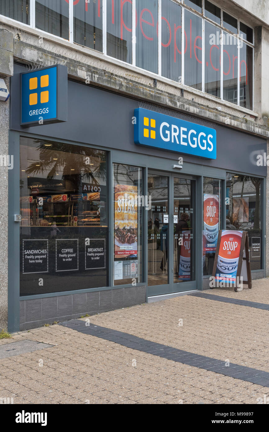 Death of the High Street metaphor / concept - Store front of Greggs retail shop in Plymouth, Devon. They sell a vegan / vegetarian sausage roll - 2019 Stock Photo