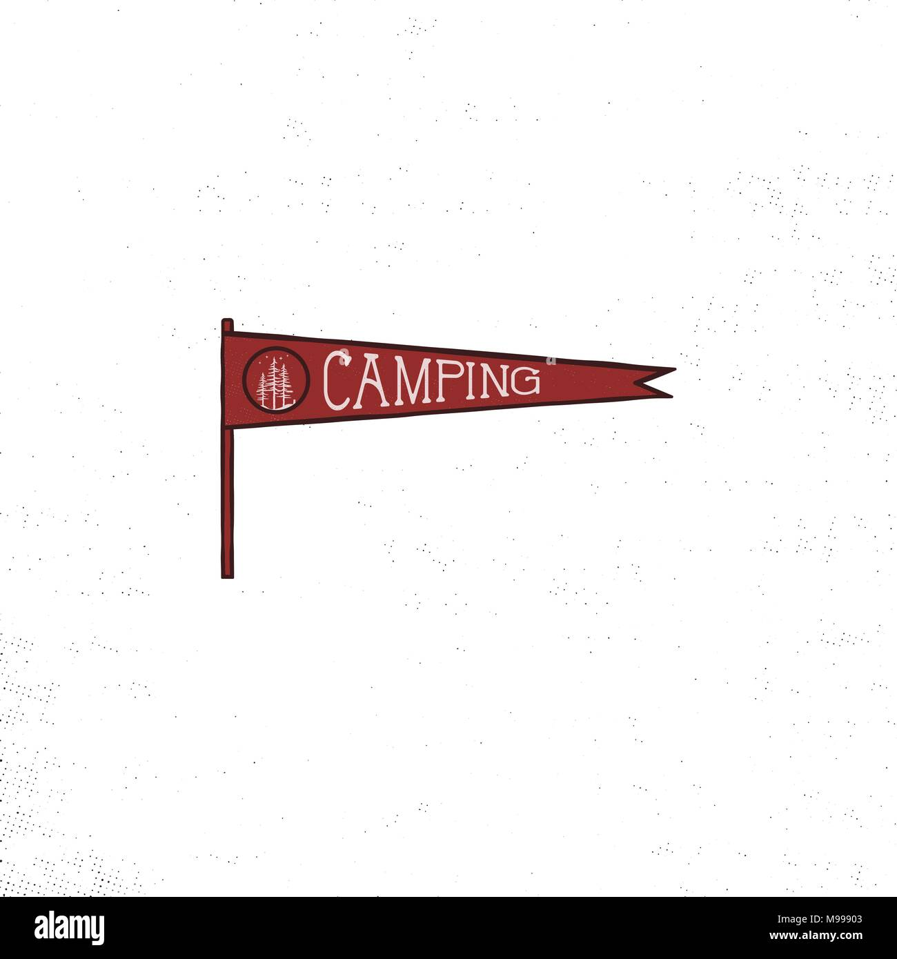 Camping pennant template. Vintage Hand drawn pennant in retro colors design. Best for t-shirts, travel mugs, backpack and any other identities. Stock vector isolated on white background. Stock Vector