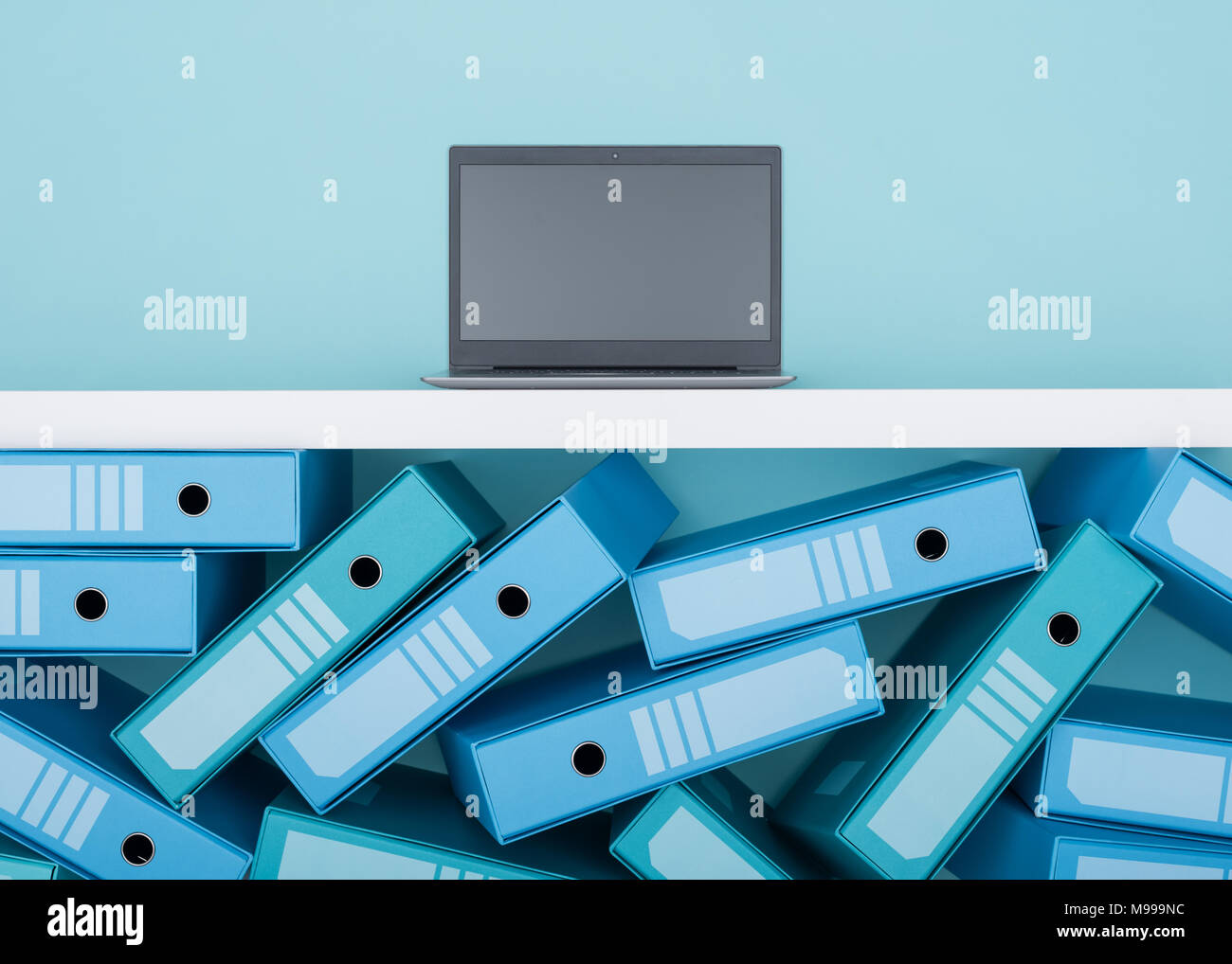 Messy load of archive binders and laptop: database management and files archive concept - Stock Image