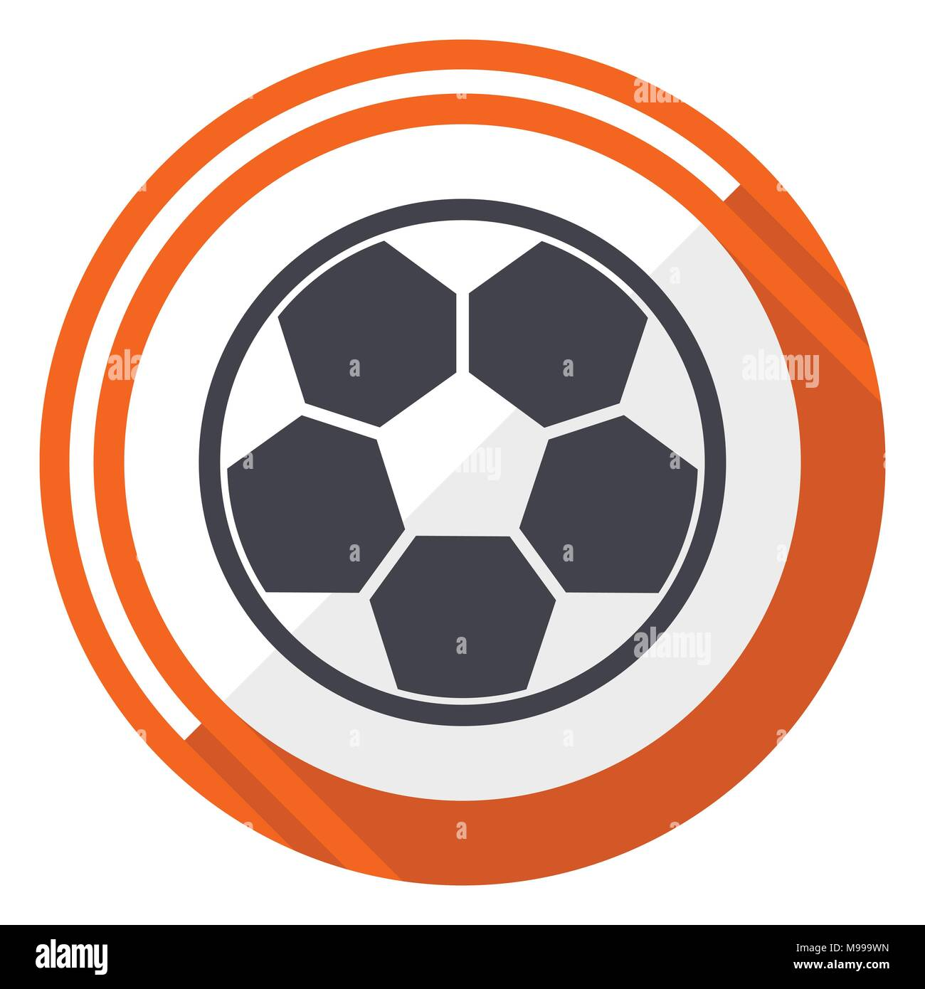 Soccer flat design vector web icon. Round orange internet button isolated on white background. - Stock Vector
