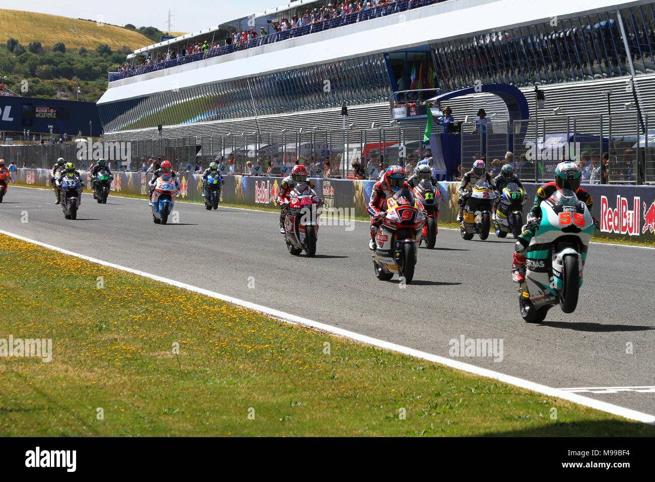 Star moto2 race at Jerez 2017 - Stock Image