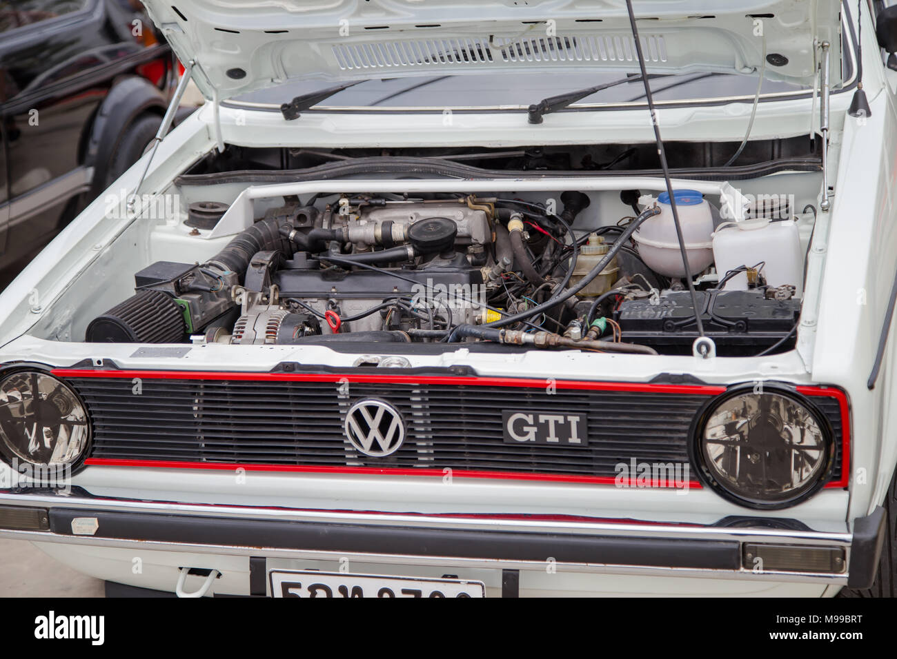 Nonthaburi, Thailand - March 10, 2018: VW owner show VW Golf GTI in volkswagen club meeting at car park of Robinson department store - Stock Image