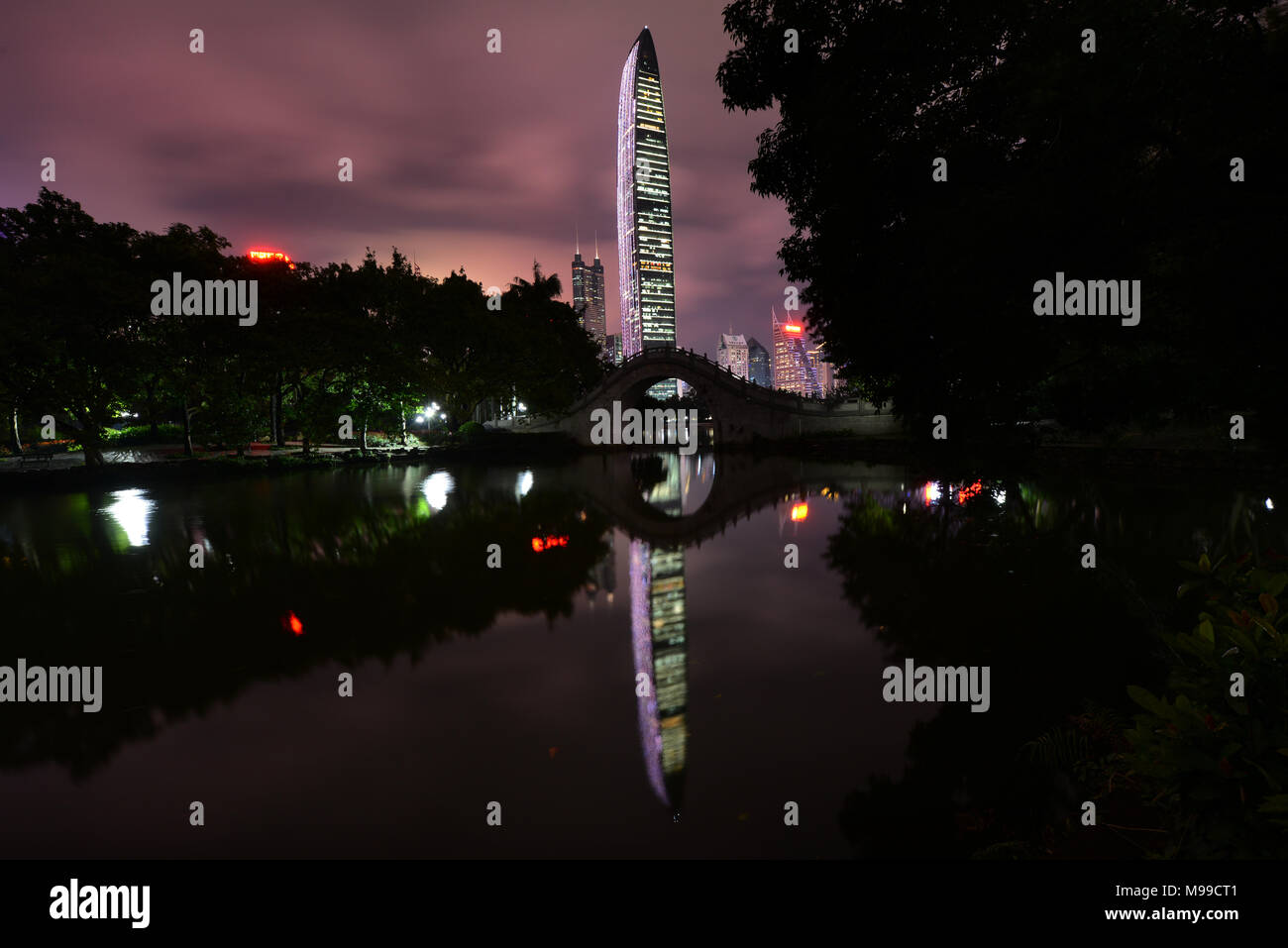 The KK100 skyscraper as seen from Lizhi Park. - Stock Image