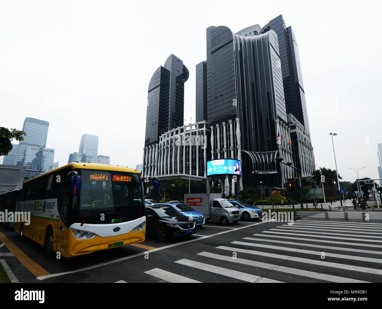 Modern skyscrapers dominate the Futian skyline. - Stock Image