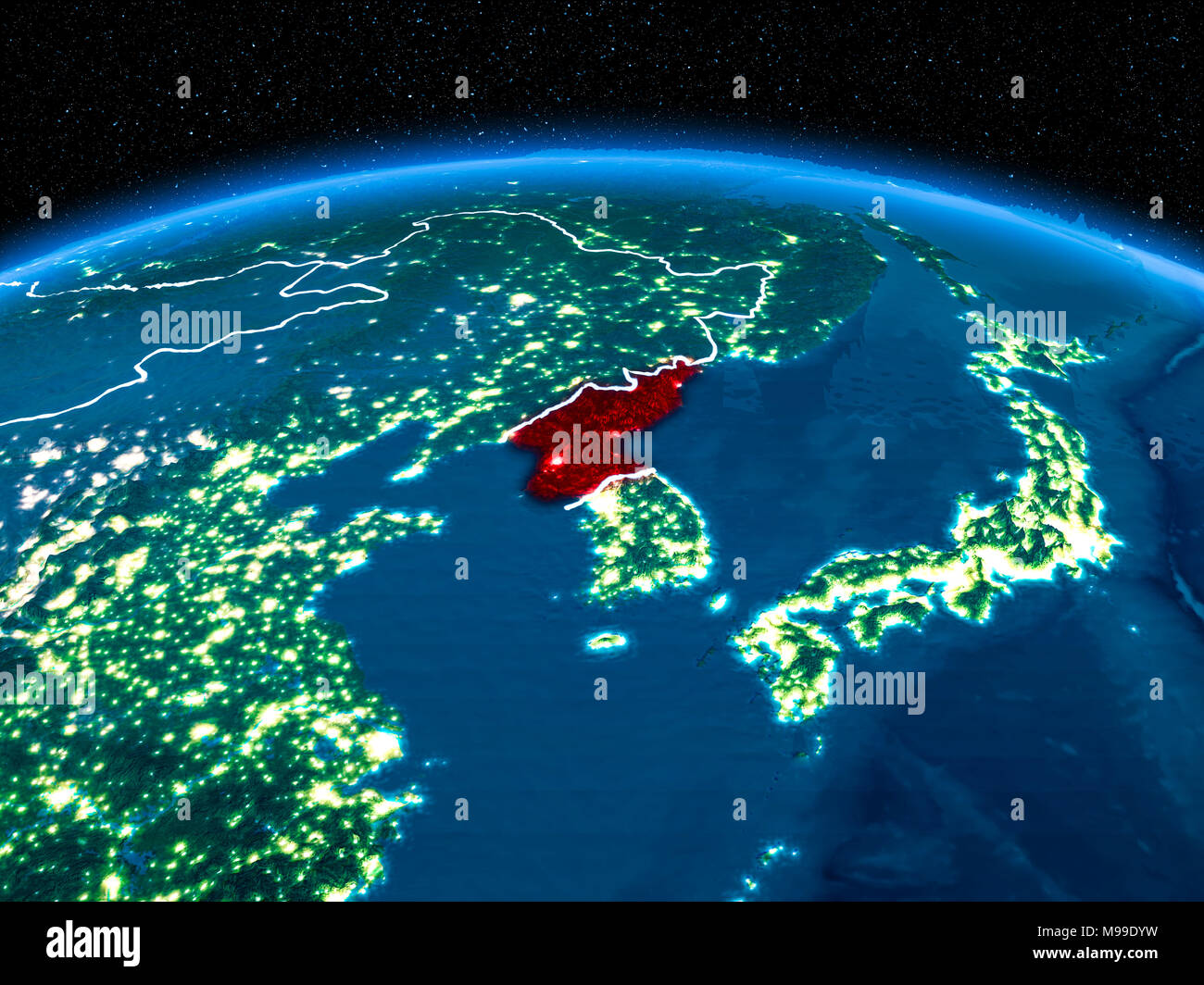 Orbit View Of North Korea Highlighted In Red With Visible