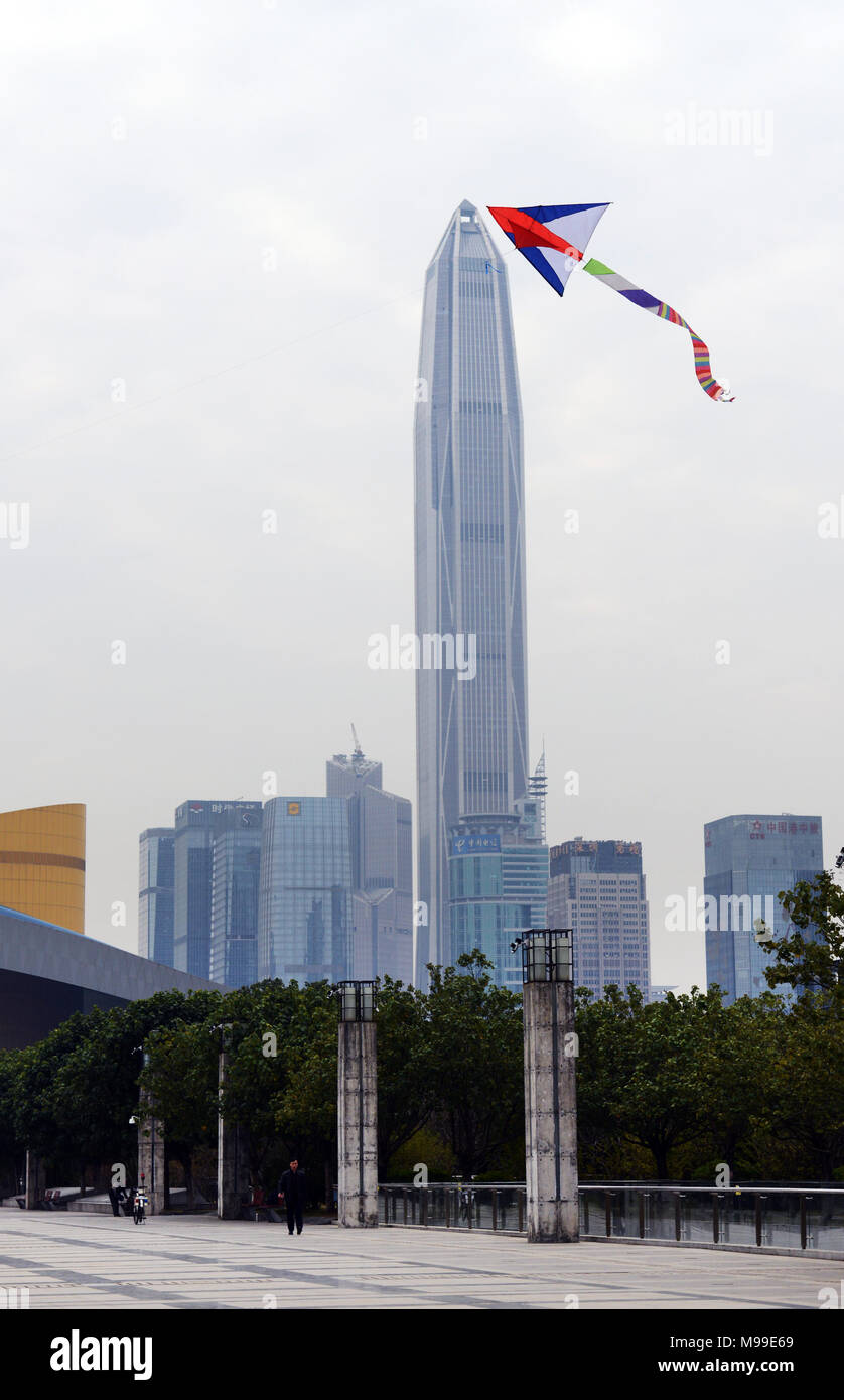 Ping An tower in Futian district in Shenzhen. - Stock Image