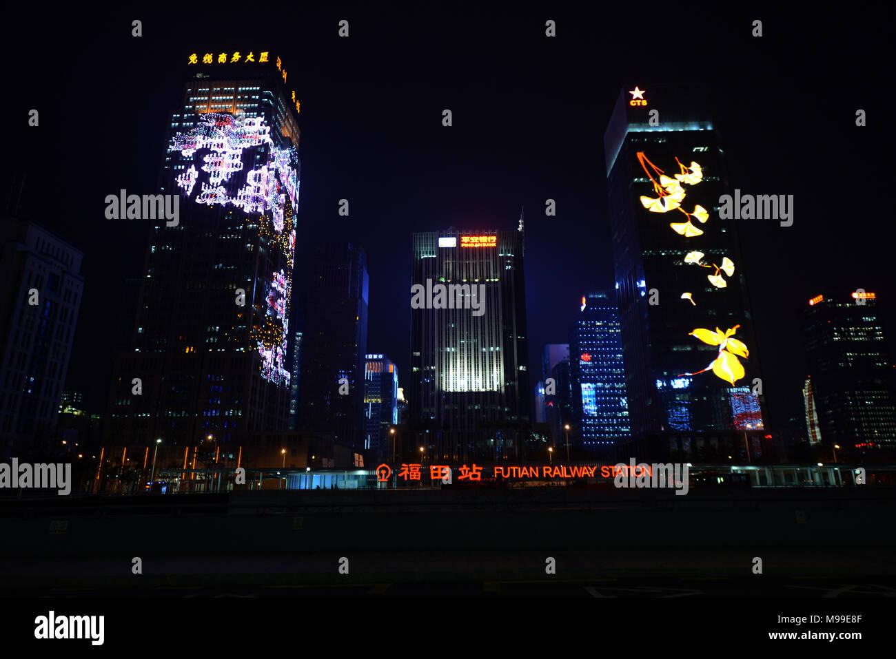 Skyscrapers in Futian district at night. - Stock Image