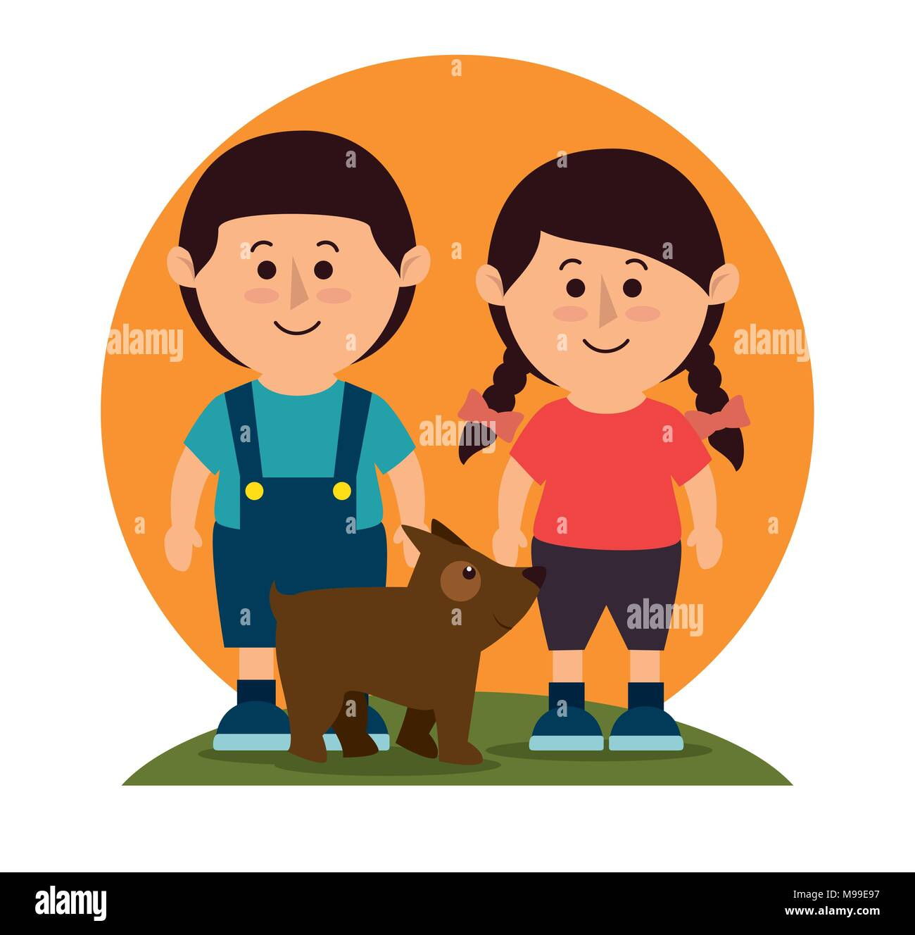 Kids with dog pet  - Stock Image