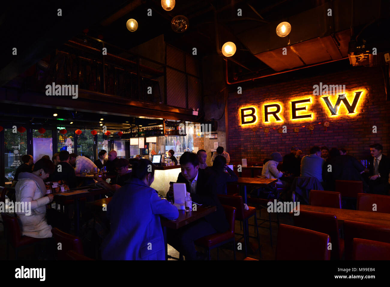 The Brew bar & restaurant in Futian, Shenzhen. - Stock Image