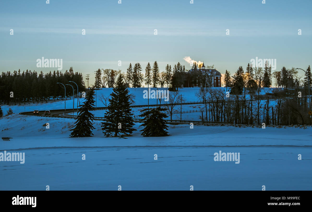 Beautiful Michener Hill in Red Deer, Alberta at Sunrise - Stock Image