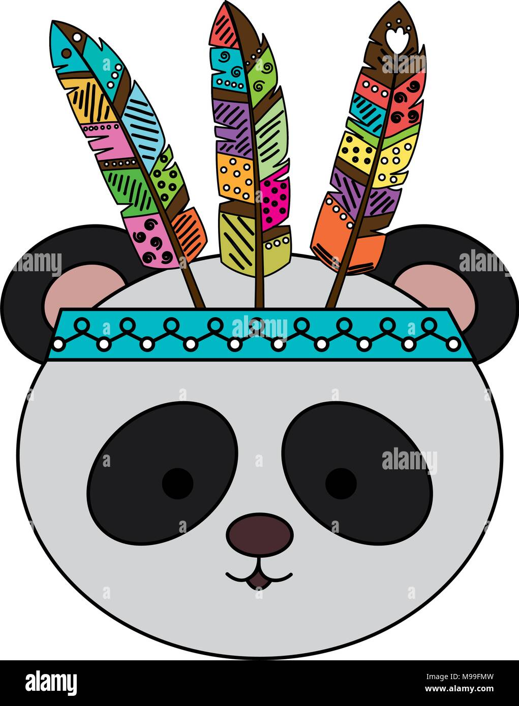 cute and tender bear panda with feather hat Stock Vector Art