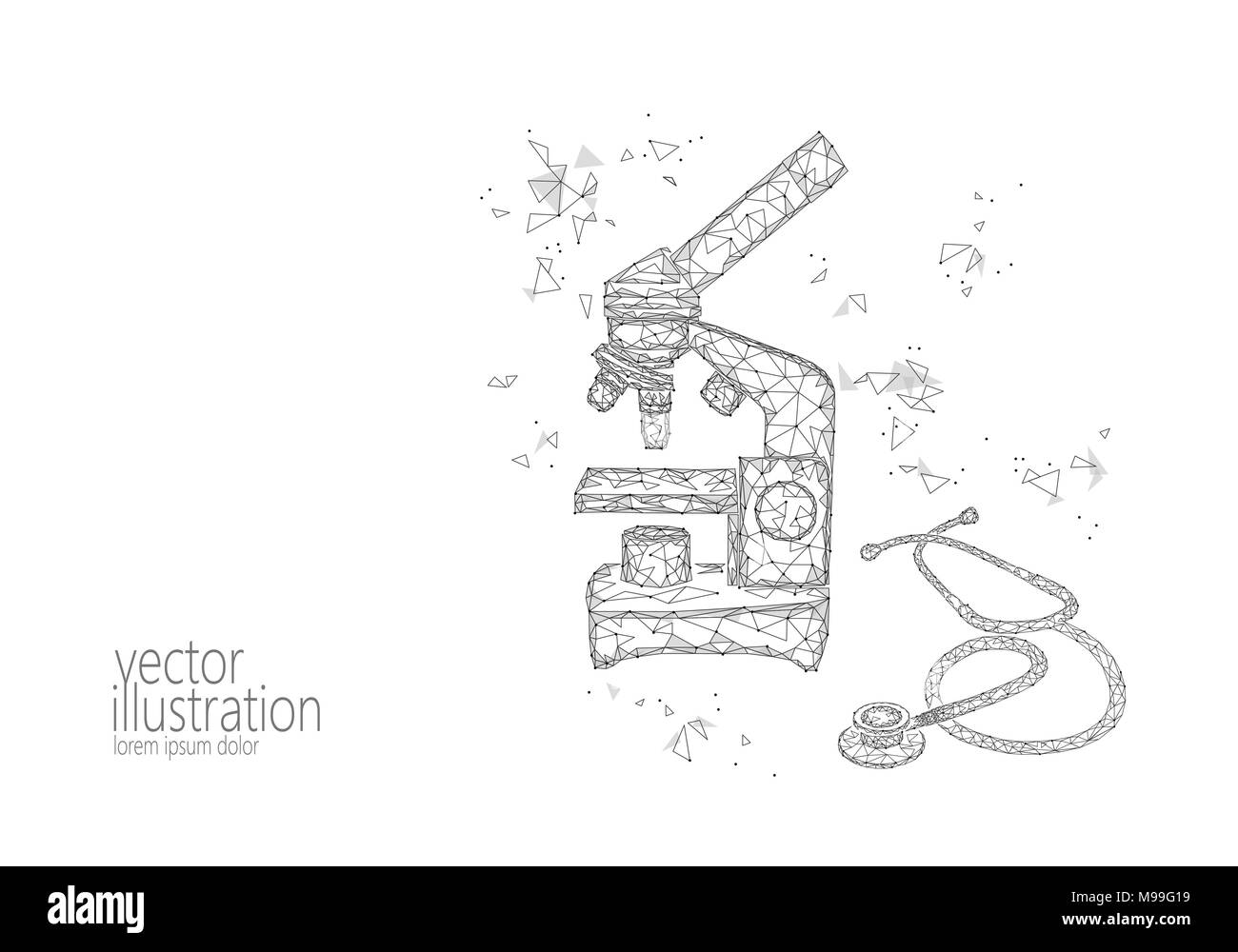 Microscope science medicine business equipment low poly polygonal microscope science medicine business equipment low poly polygonal triangle white monochrome glowing point connected stethoscope research world microbiology ccuart Choice Image