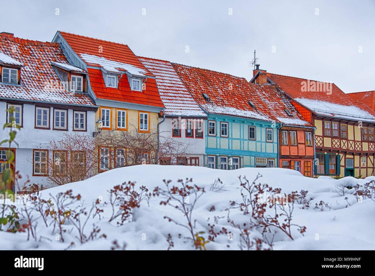 Welterbestadt Quedlinburg im Winter mit Schnee Winterimpressionen Stock Photo