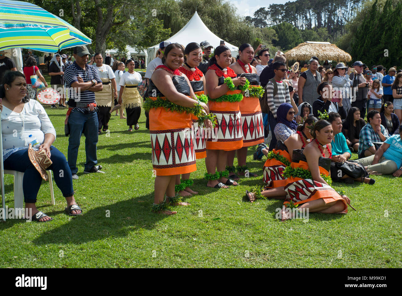 Spectators seated and standing as they watch dance performances at Pasifica, Pacific Island Festival, Auckland. - Stock Image