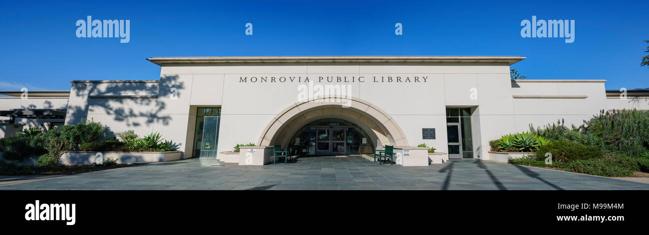 Exterior view of the Monrovia Library at Los Angeles County, California - Stock Image