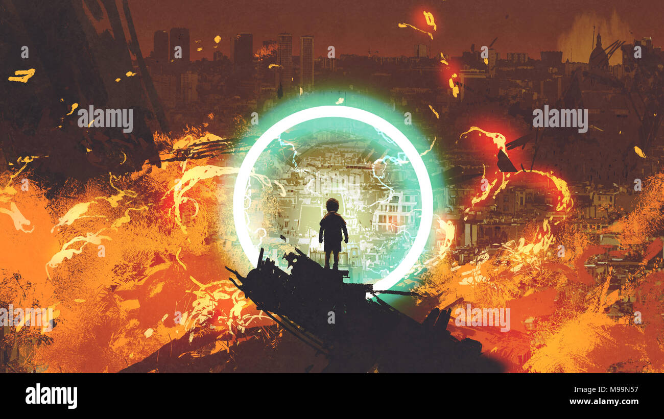 boy standing in front of a glowing blue ring and looking at the burning city, digital art style, illustration painting - Stock Image