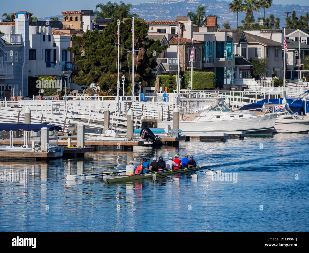 Long beach, MAR 18: Beautiful cityscape with people boating below on MAR 18, 2018 at Long Beach, Los Angeles County, California - Stock Image