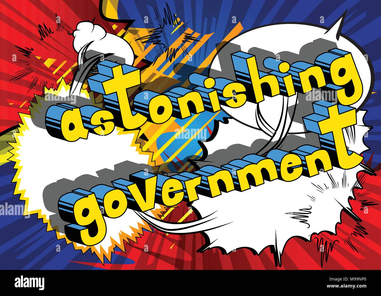 Astonishing Government - Comic book style phrase on abstract background. - Stock Vector