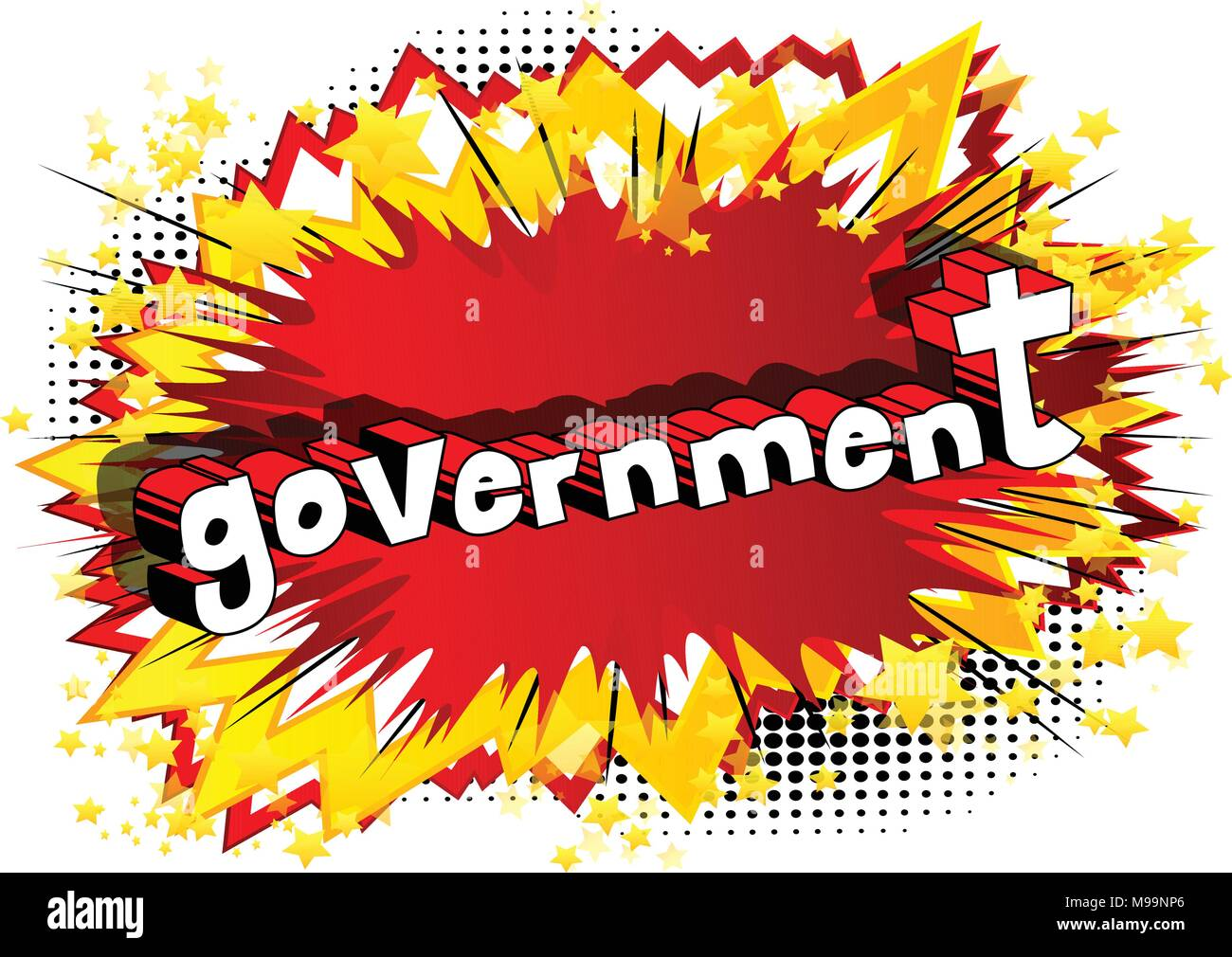 Government - Comic book style phrase on abstract background. - Stock Vector