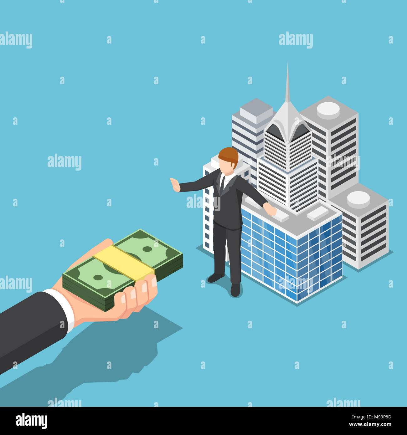 Flat 3d isometric businessman don't sell his business building. Business asset and real estate concept. - Stock Vector