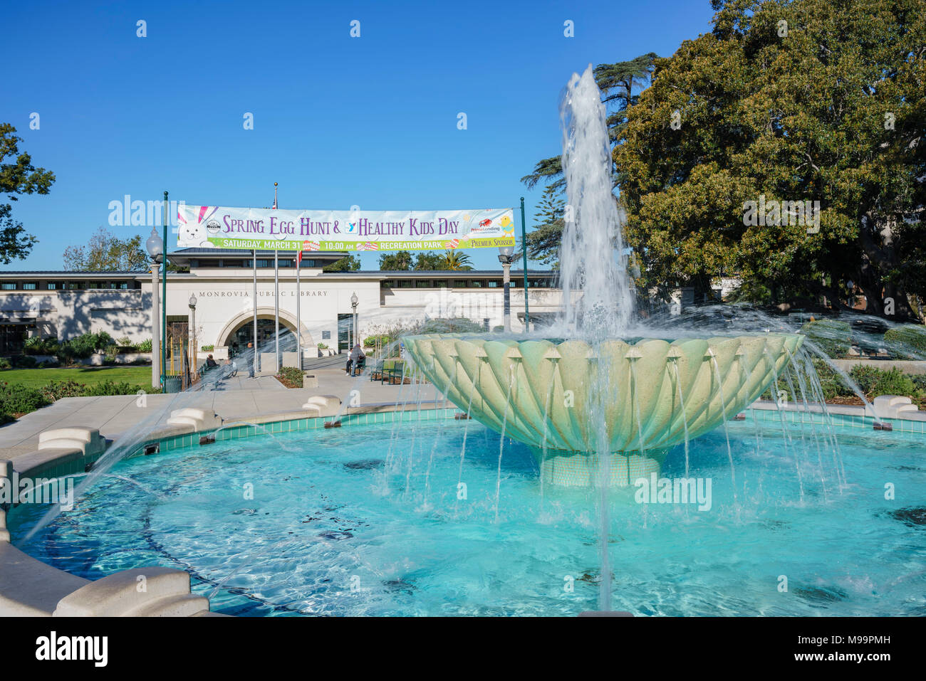 Monrovia, MAR 19: Exterior view of the Monrovia Library on MAR 19, 2018 at Los Angeles County, California - Stock Image