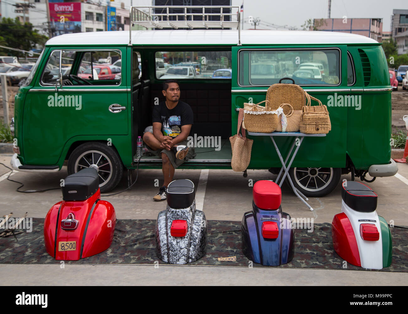 Nonthaburi, Thailand - March 10, 2018: VW microbus owner sell Vespa ...