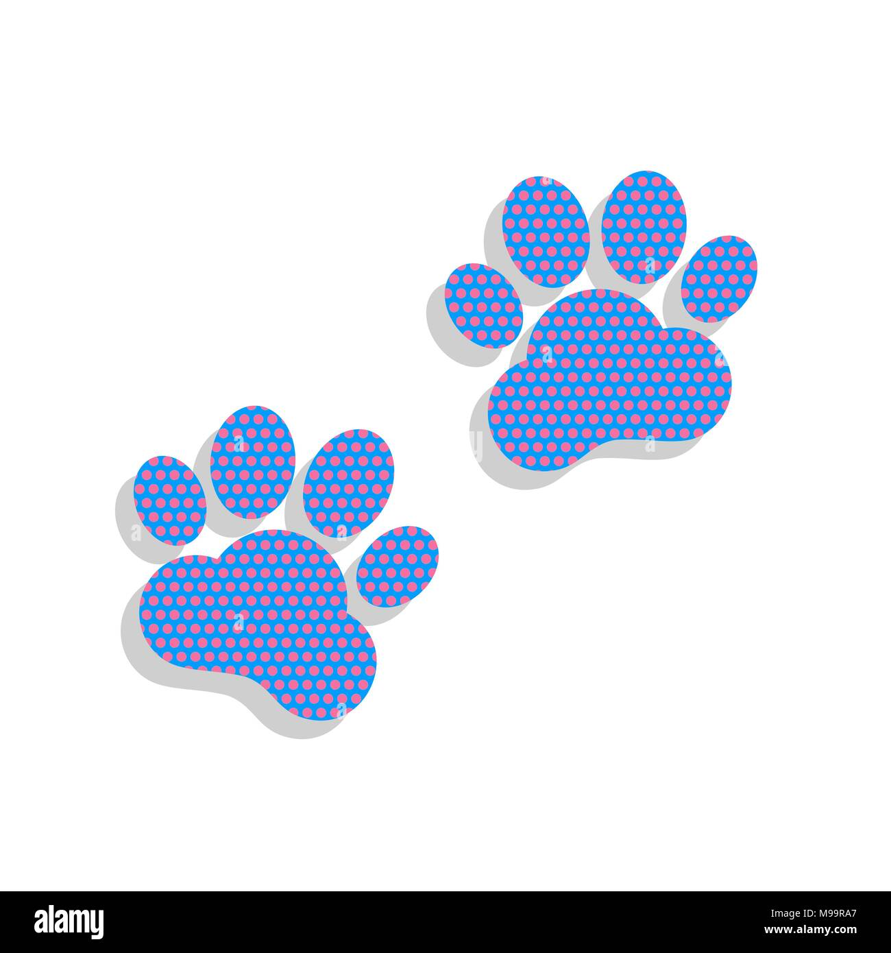 Animal Tracks sign. Vector. Neon blue icon with cyclamen polka dots pattern with light gray shadow on white background. Isolated. - Stock Image