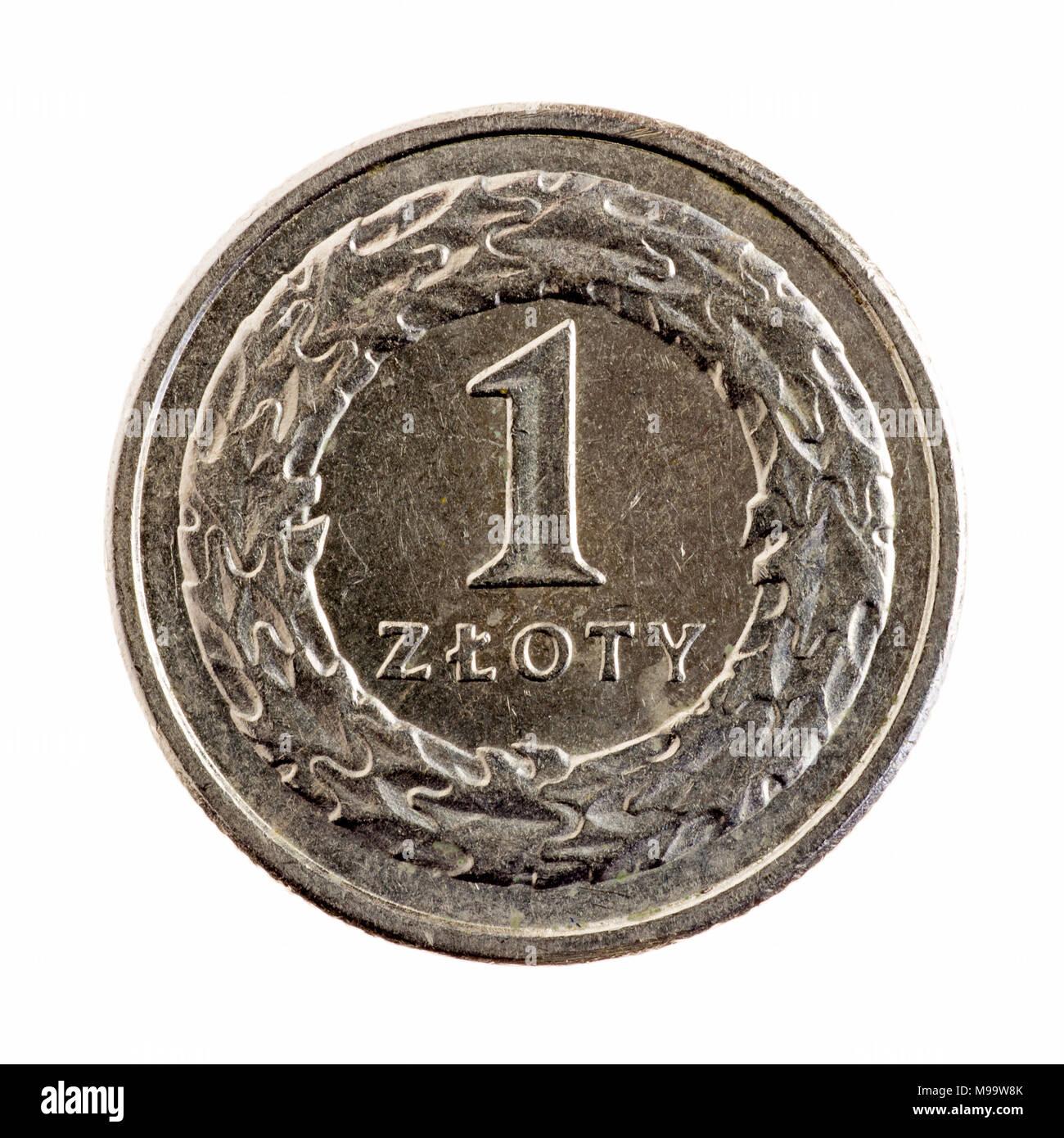 Polish 1 Zloty coin - Stock Image