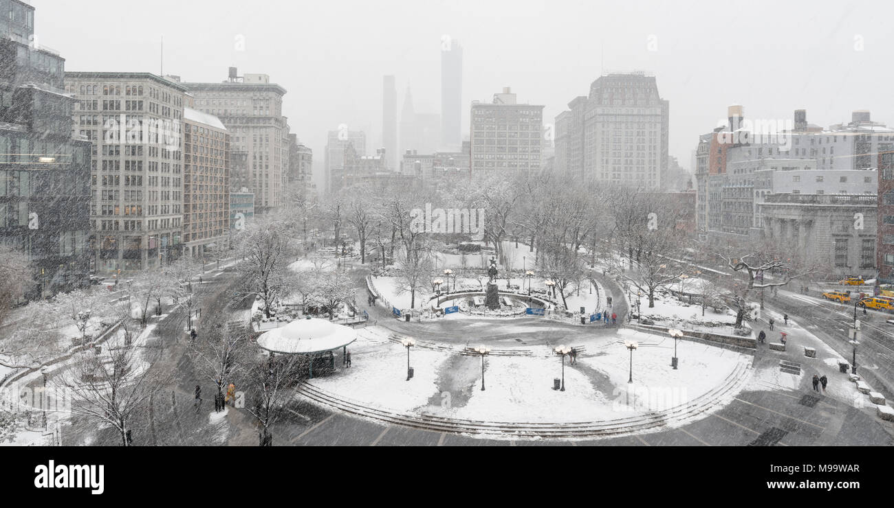 New York City, NY, USA - March 21, 2018: Union Square Park in Winter under Snowfall. Manhattan - Stock Image