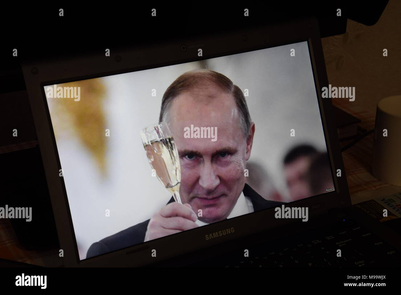 Russia, Poltavskaya village - Mart 24, 2018: Russian President Vladimir Putin on the laptop screen. Editorial illustrative. - Stock Image