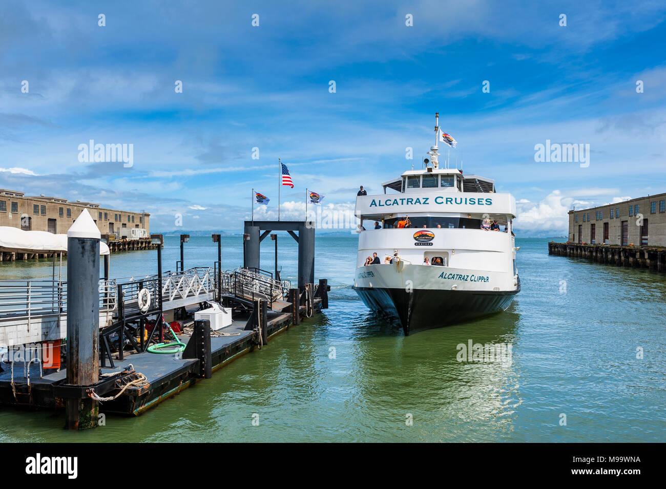 Alcatraz Cruises Ferry in San Francisco Bay California USA - Stock Image