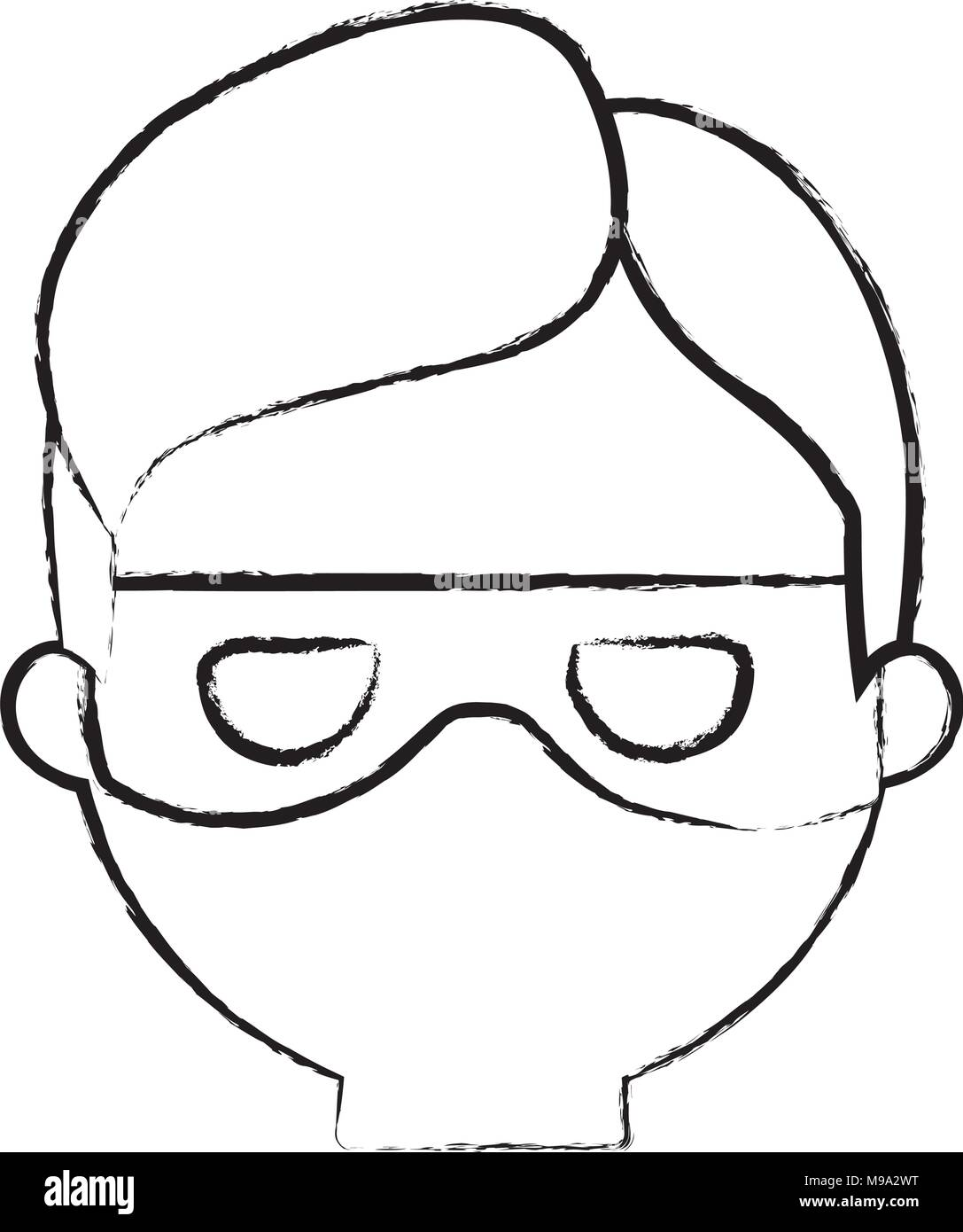 sketch of cartoon thief face icon over white background, vector illustration - Stock Image
