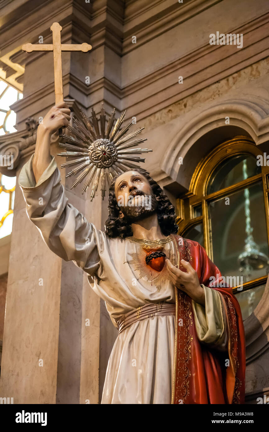 Lisbon Portugal Jesus Christ Holding Crosscrucifix And Sacred