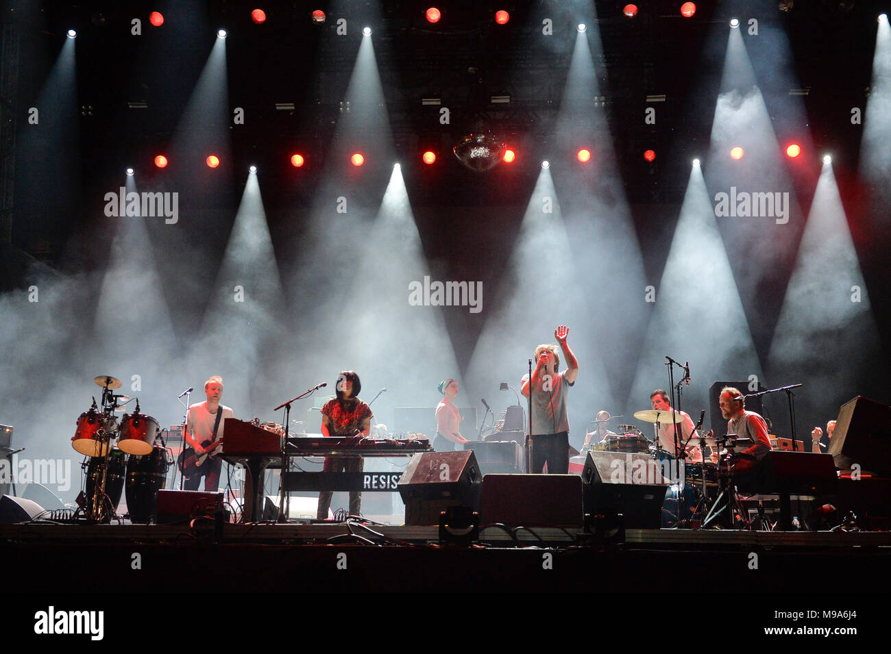Sao Paulo, Brazil. 23rd March, 2018. SoundSystem LCD band presents at the 2014 Lollapalooza festival, held at the Autodromo de Interlagos in São Paulo, on the afternoon of this Friday, 23 (PHOTO: LEVI BIANCO/BRAZIL PHOTO PRESS) Credit: Brazil Photo Press/Alamy Live News - Stock Image