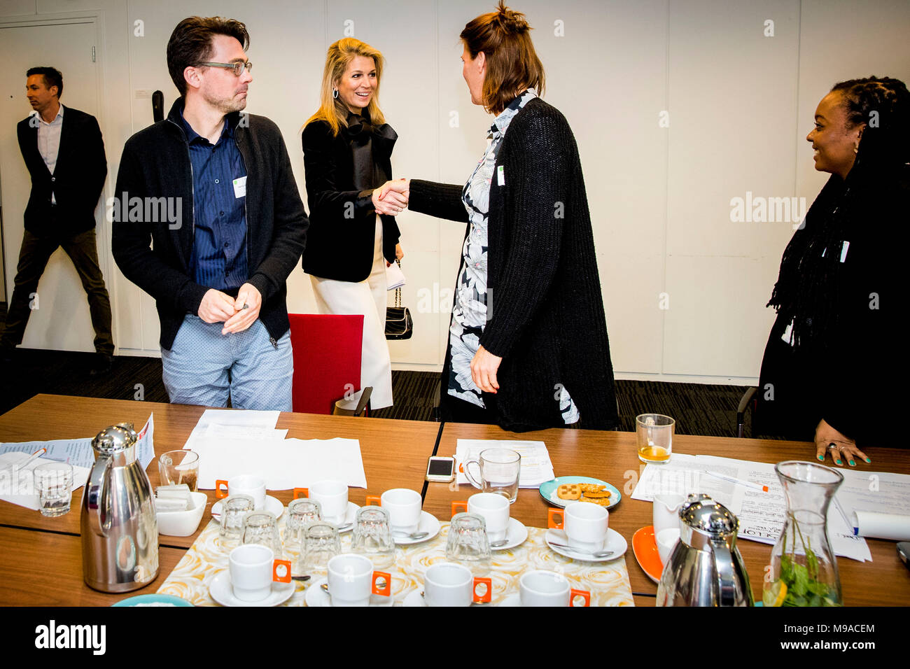 Doorn, The Netherlands. 23rd Mar, 2018. Queen Maxima of The Netherlands visits the meeting of Meer Kansen (more changes) of the Oranje Foundation in Doorn, The Netherlands, 23 March 2018. With the program more changes are offered to youth. Credit: Patrick van Katwijk - NO WIRE SERVICE · Credit: Patrick van Katwijk/Dutch Photo Press/dpa/Alamy Live News Stock Photo