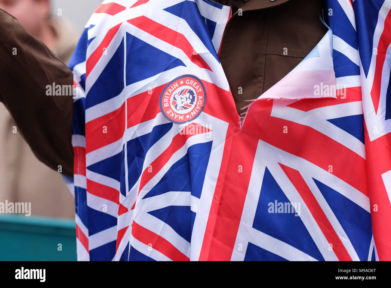 Birmingham, UK - Saturday 24th March 2018 - Protester wearing a Make Britain Great Again badge during the demonstration and march by the Football Lads Alliance ( FLA ) in Birmingham. Photo Steven May / Alamy Live News - Stock Image