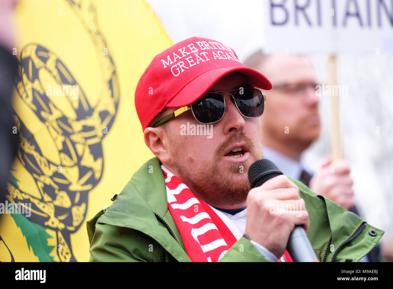 Birmingham, UK - Saturday 24th March 2018 - Luke Nash-Jones activist for Make Britain Great Again at the demonstration and march by the Football Lads Alliance ( FLA ) in Birmingham. Photo Steven May / Alamy Live News - Stock Image