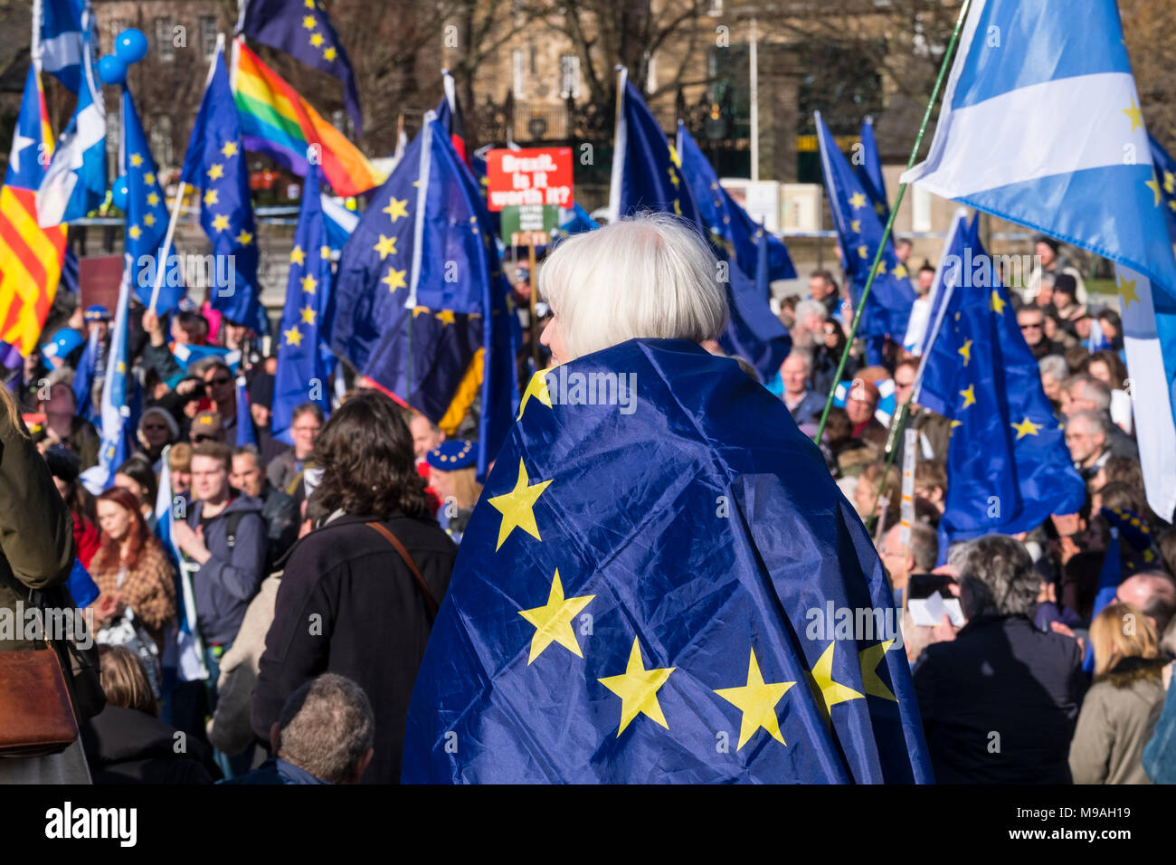 Edinburgh, Scotland,UK. 24 March 2018. March for Europe: Democracy on Brexit march and demonstration outside the Scottish Parliament at Holyrood today.  Large crowd of pro-Europe anti-Brexit protestors met to listen to speeches. Credit: Iain Masterton/Alamy Live News - Stock Image