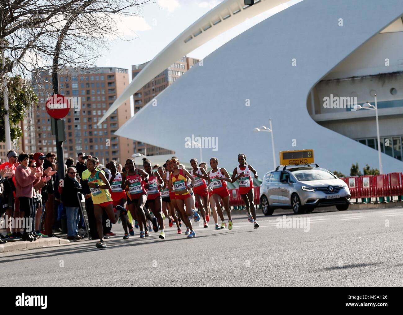 Athletes in action during the International Association of Athletics Federations (IAAF) Women's World Half Marathon Championships 2018 in Valencia, eastern Spain, 24 March 2018. EFE/MANUEL BRUQUE - Stock Image