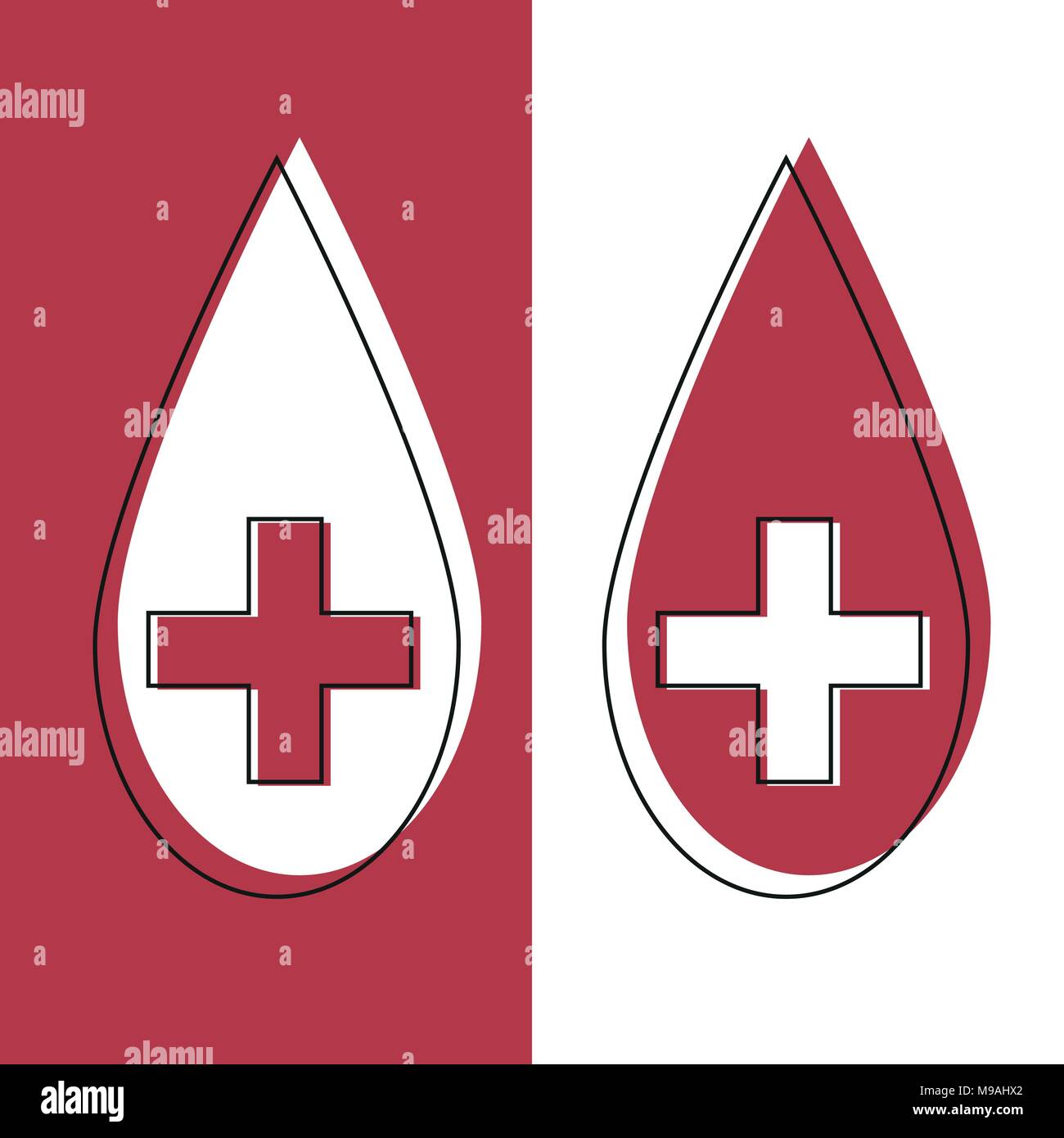 Red blood drop icon in line desidn. Red blood drop vector illustration. - Stock Image