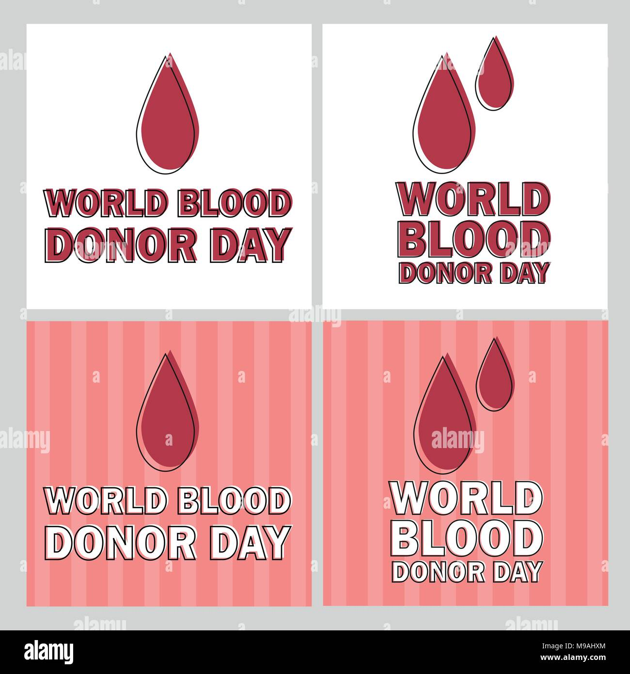 Vector illustration of Donate blood concept with red drop -World blood donor day - Stock Image