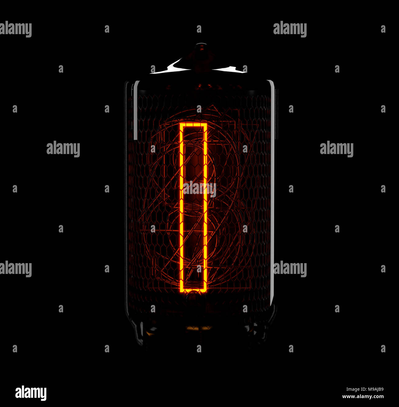 Nixie Tube Stock Photos Images Alamy Schematic Page 1 Indicator The Number One Of Retro 3d Render Image